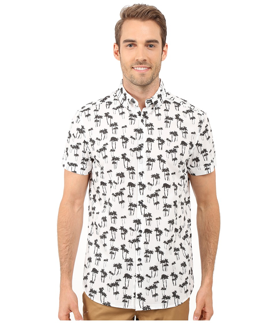 Kenneth Cole Sportswear - Short-Sleeve Palm Tree Print Shirt (White Combo) Men's Short Sleeve Button Up