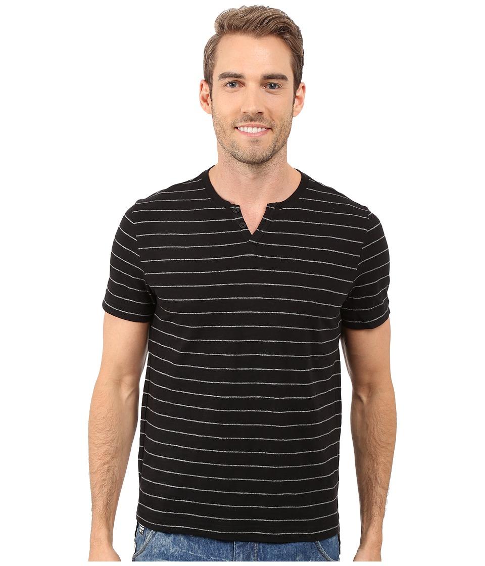 Kenneth Cole Sportswear - Stripe Henley (Black) Men's Short Sleeve Pullover