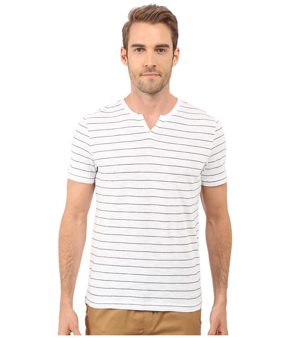 Kenneth Cole Sportswear - Stripe Henley (White) Men's Short Sleeve Pullover