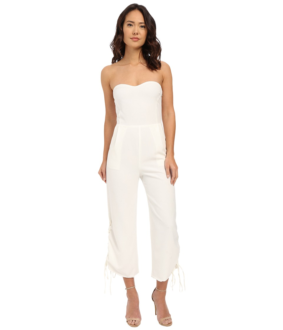 Brigitte Bailey - Pesaro Strapless Cropped Jumpsuit w/ Lace-Up Vents (Off-White) Women's Jumpsuit & Rompers One Piece