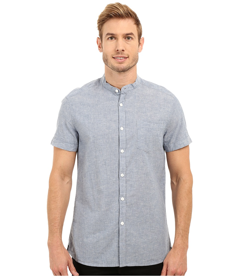 Kenneth Cole Sportswear - Short Sleeve Collarband (Light Indigo) Men's Short Sleeve Button Up