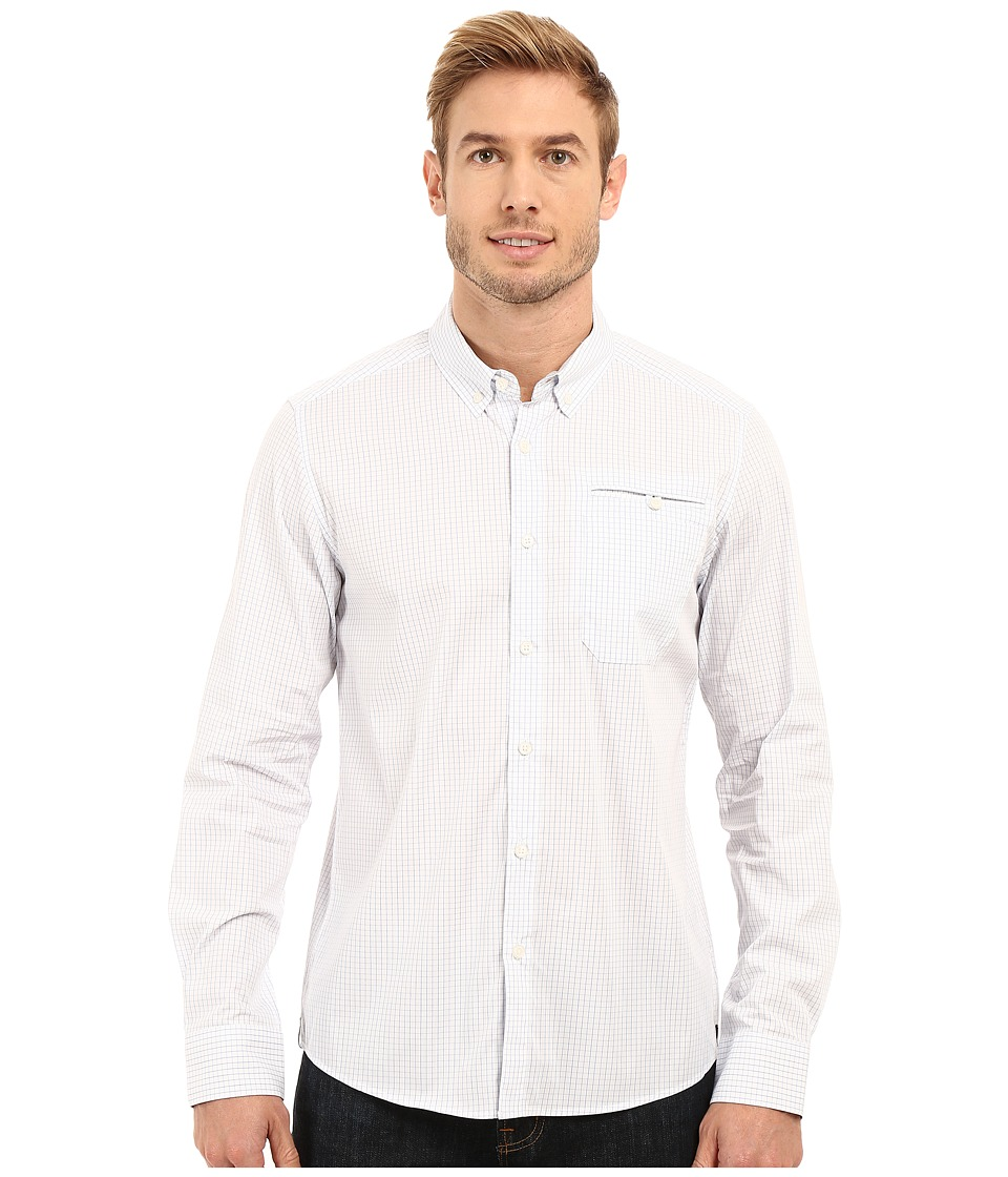 Kenneth Cole Sportswear - Long Sleeve Button Down Collar Besom Check (Bayview Combo) Men's Long Sleeve Button Up