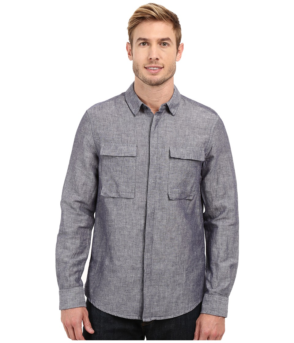 Kenneth Cole Sportswear - Long Sleeve Modern Utility Shirt (Black Combo) Men's Long Sleeve Button Up