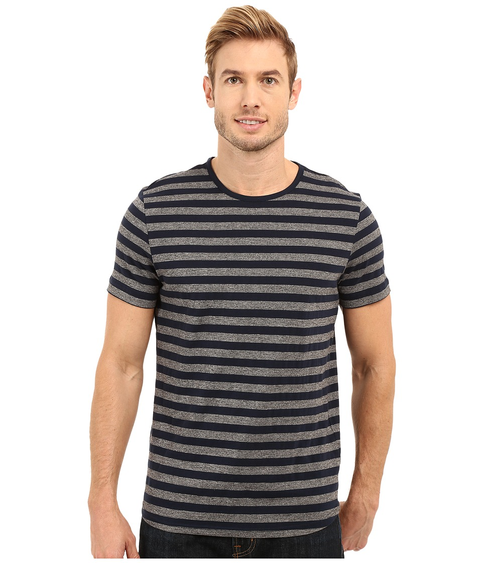 Kenneth Cole Sportswear - Short Sleeve Marled Stripe Crew (Indigo) Men's Short Sleeve Knit