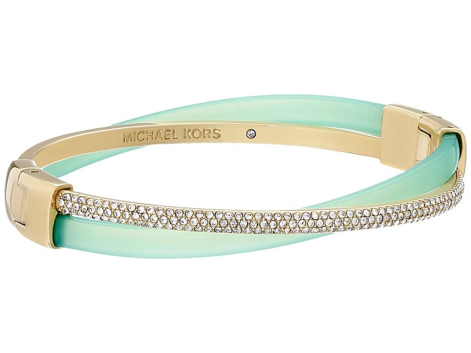 Michael Kors - Pave Crisscross Hinged Bangle (Gold/Mint Acetate/Clear Pave) Bracelet