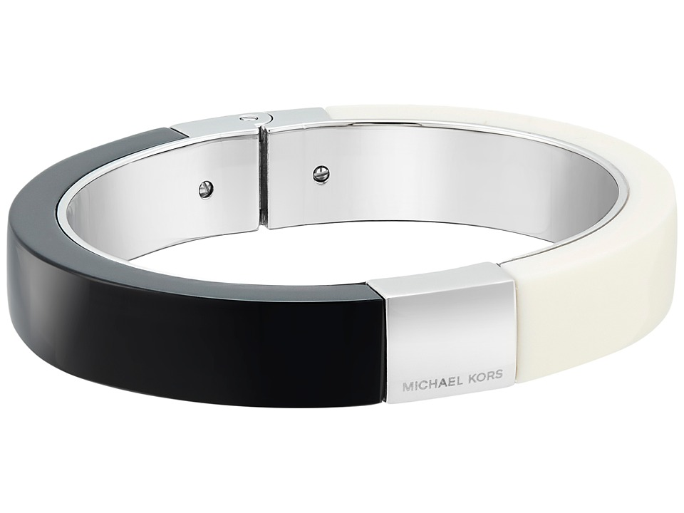 Michael Kors - Color Block Hinge Bracelet (Silver/Black/White) Bracelet