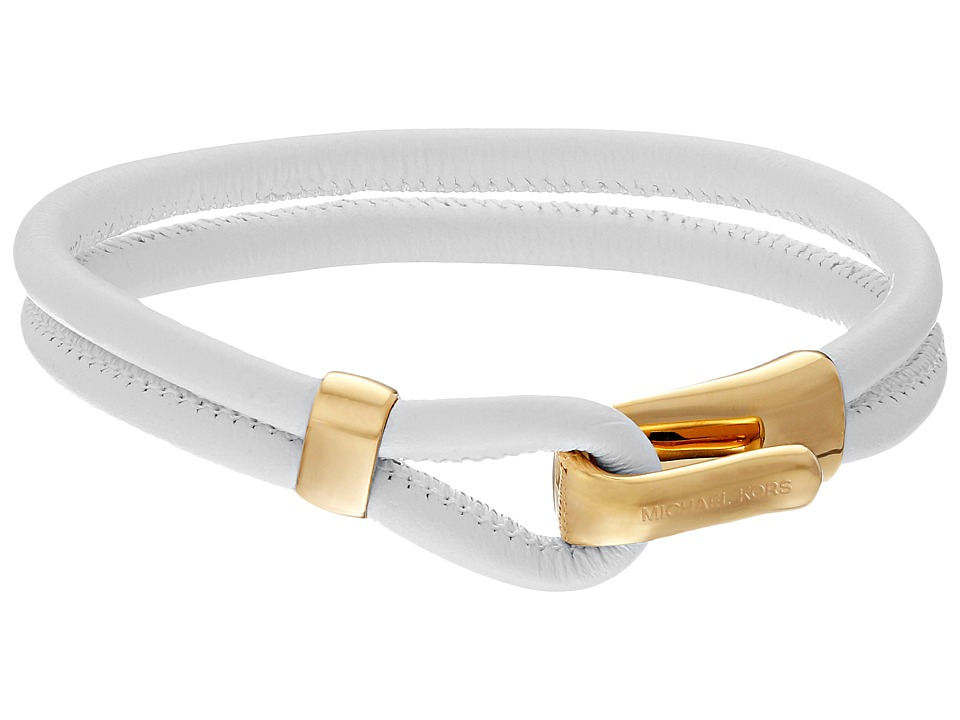 Michael Kors - Leather Hook Eye Bracelet (Gold/White) Bracelet