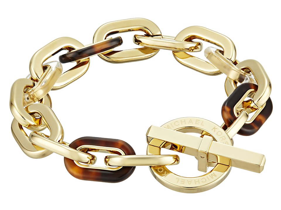 Michael Kors - Color Block Toggle Bracelet (Gold/Tortoise/Lucite) Bracelet