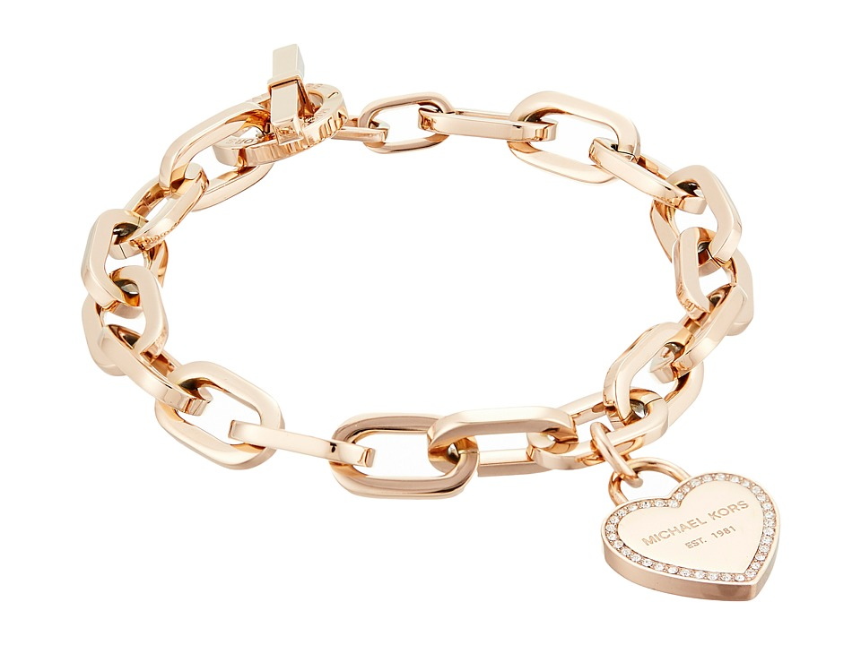 Michael Kors - Heritage Heart Charm Toggle (Rose Gold/Clear) Charms Bracelet