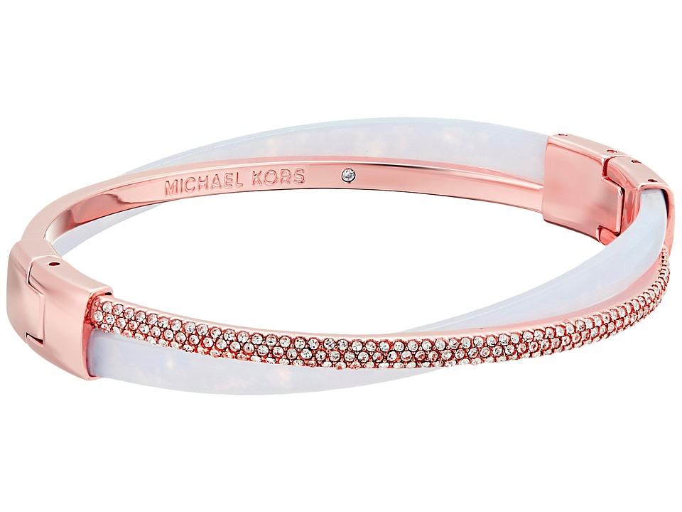 Michael Kors - Pave Crisscross Hinged Bangle (Rose Gold/Lavender Acetate/Clear Pave) Bracelet