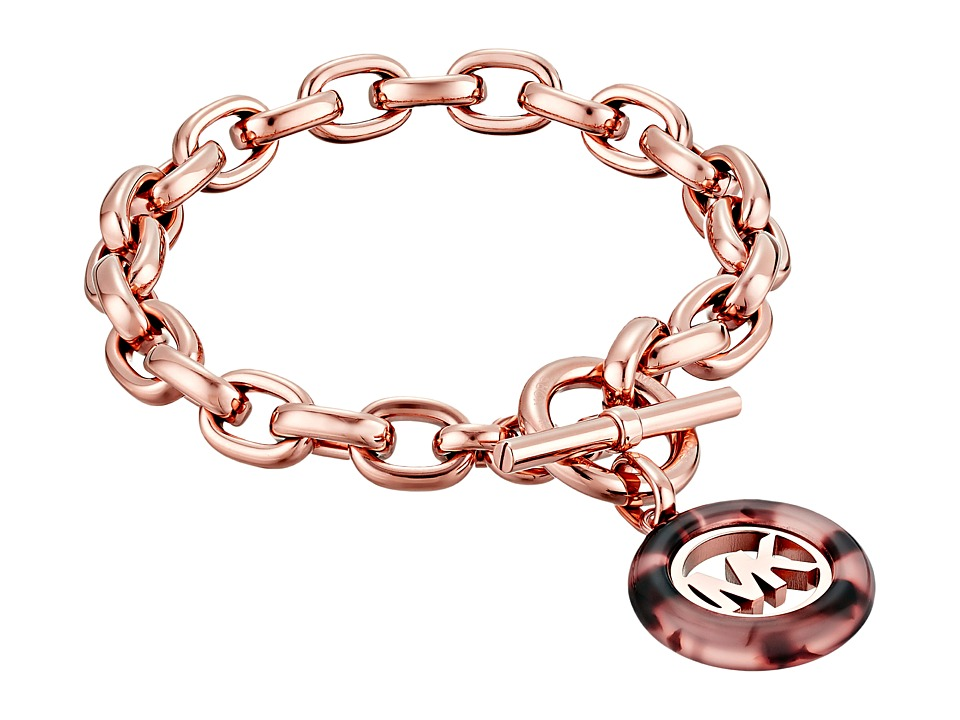 Michael Kors - Fulton Logo Toggle Bracelet (Rose Gold/Blush Tortoise/Clear) Bracelet