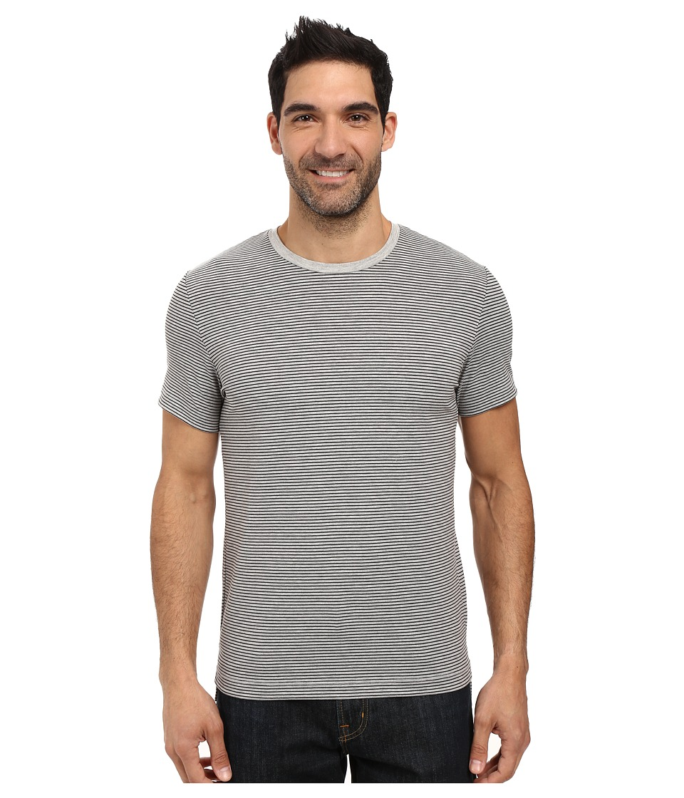 Kenneth Cole Sportswear - Stripe Cotton Tech Tee (Heather Grey) Men's T Shirt