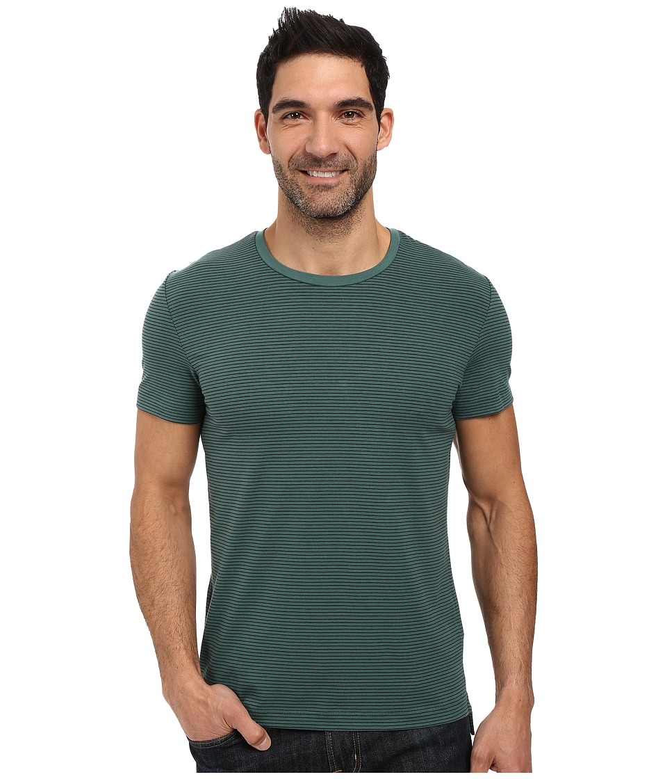Kenneth Cole Sportswear - Stripe Cotton Tech Tee (Palm) Men's T Shirt