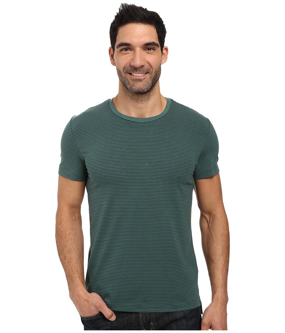 Kenneth Cole Sportswear - Stripe Cotton Tech Tee (Palm) Men's T Shirt