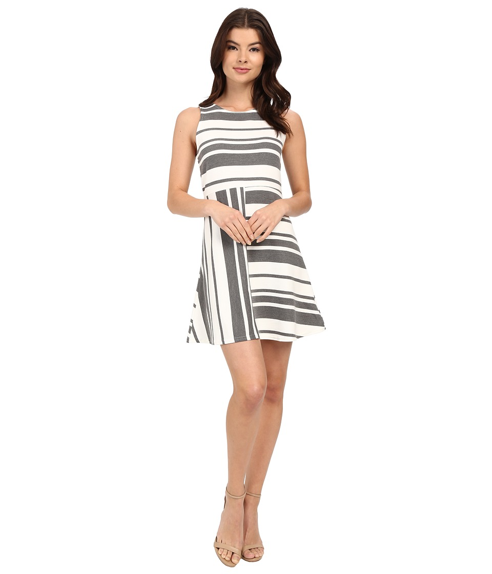 Brigitte Bailey - Lori Multi Stripe Dress (Grey/White) Women's Dress