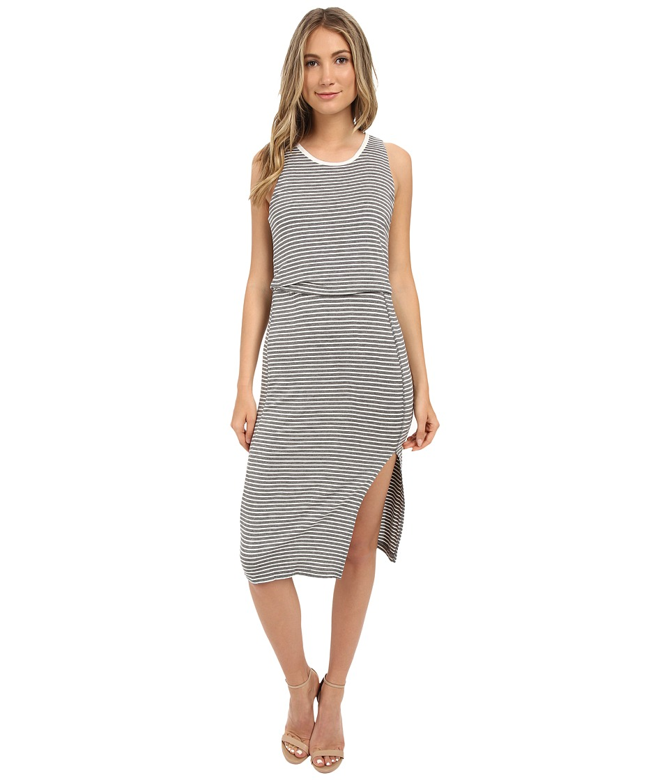 Brigitte Bailey - Zip Back Stripe Dress (Med Heather Grey) Women's Dress