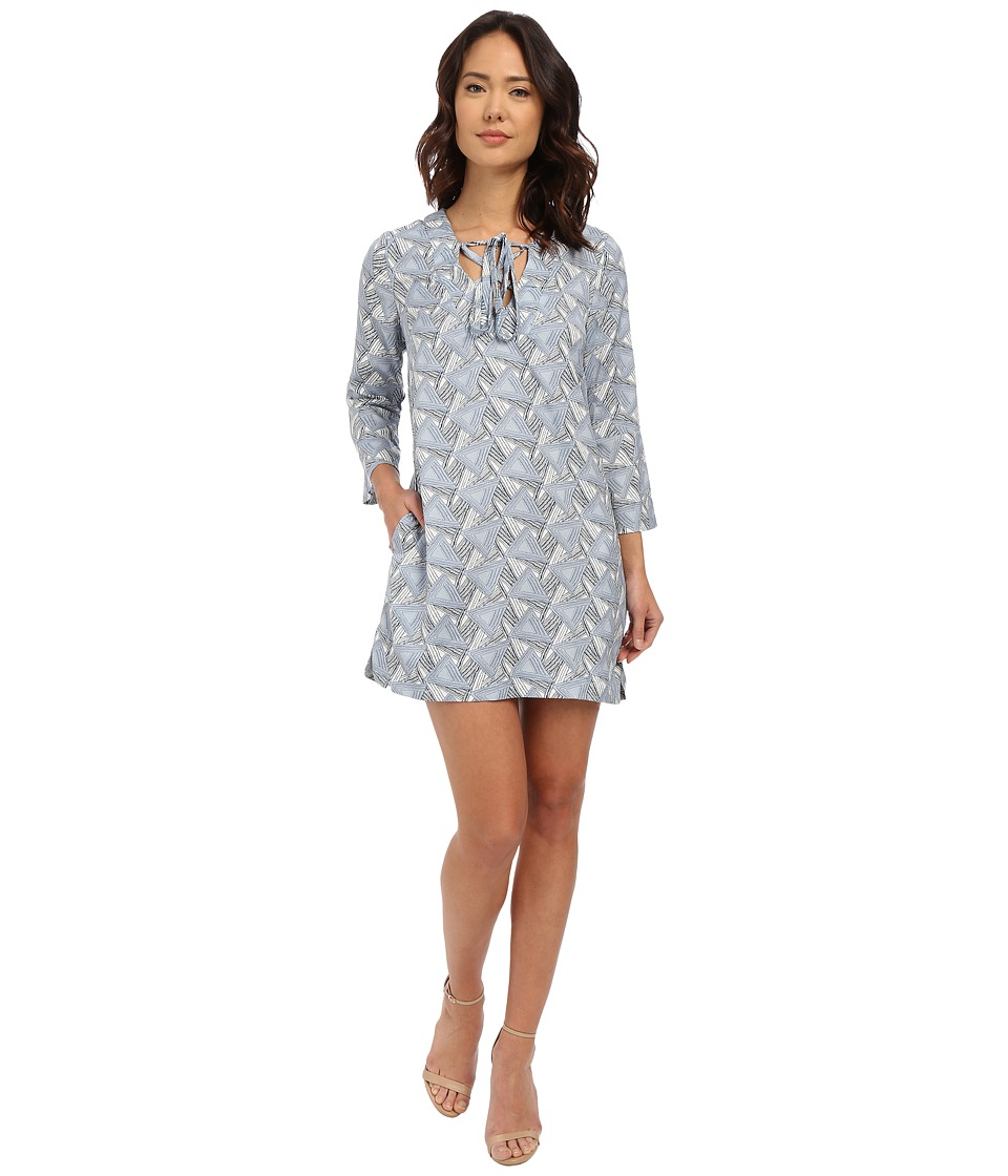 Brigitte Bailey - Arezzo Shift Dress (White/Blue) Women's Dress