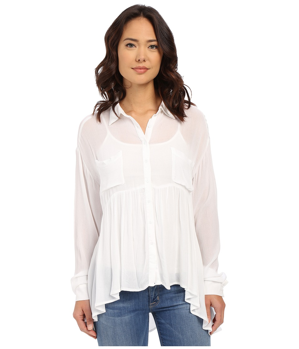 Brigitte Bailey - Cesena Flouncy Button Up Top (White) Women's Clothing