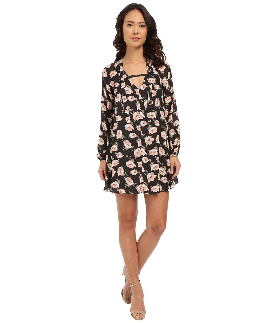 Brigitte Bailey - Udine Floral Shift Dress w/ Tie (Black/Mauve Floral) Women's Dress