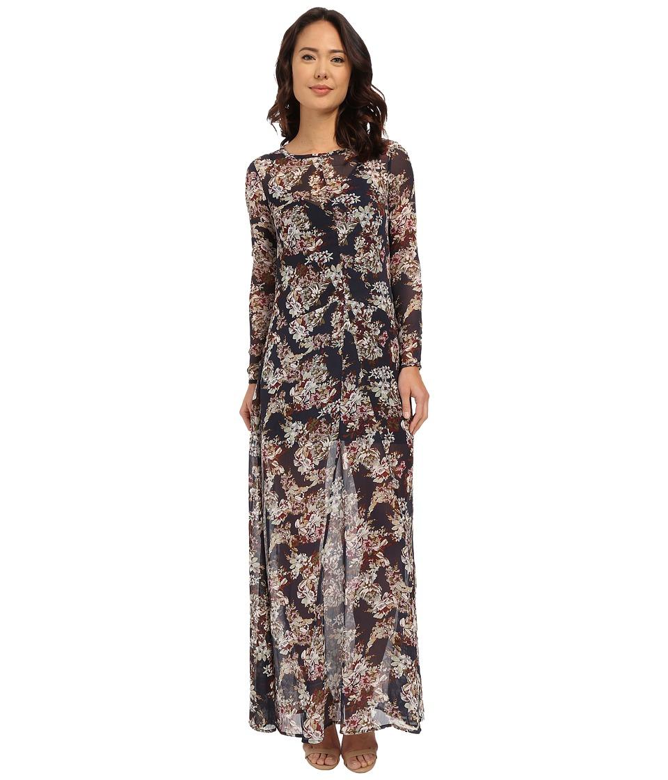 Brigitte Bailey - Marche Floral Sheer Maxi w/ Slip (Navy Floral) Women's Dress