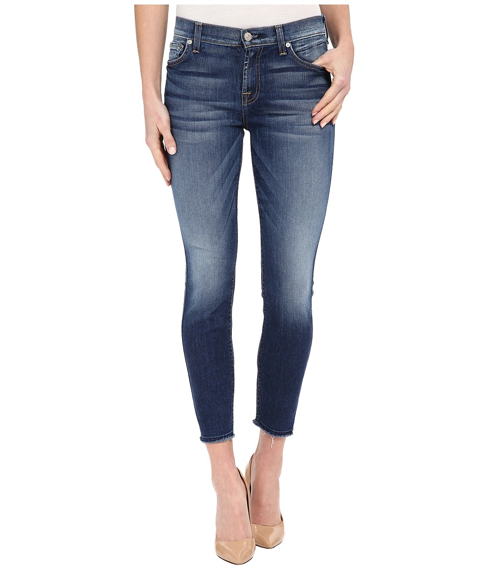 7 For All Mankind - The Ankle Skinny w/ Raw Hem in Bright Indigo Stretch 2 (Bright Indigo Stretch 2) Women