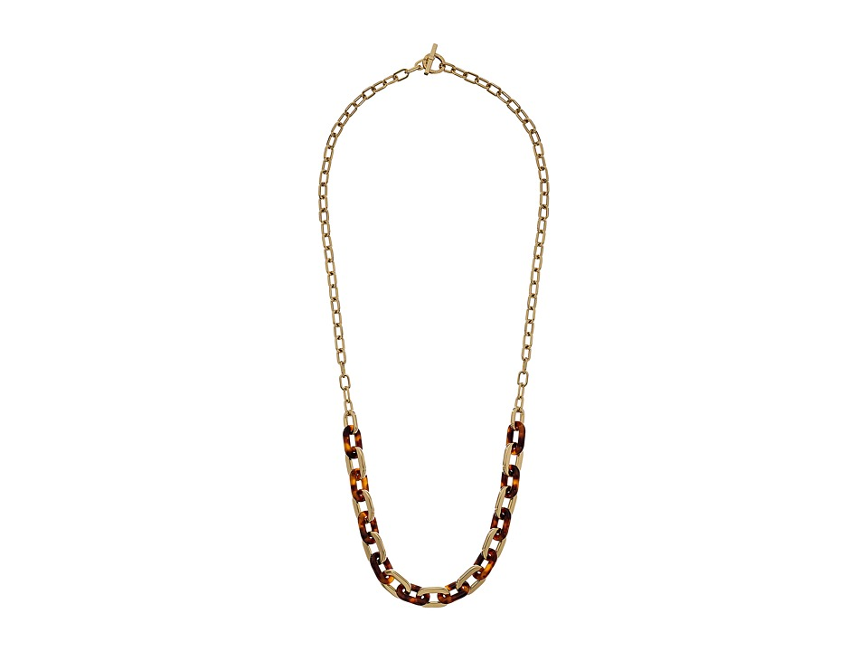 Michael Kors - Color Block Long Link Necklace (Gold/Tortoise) Necklace