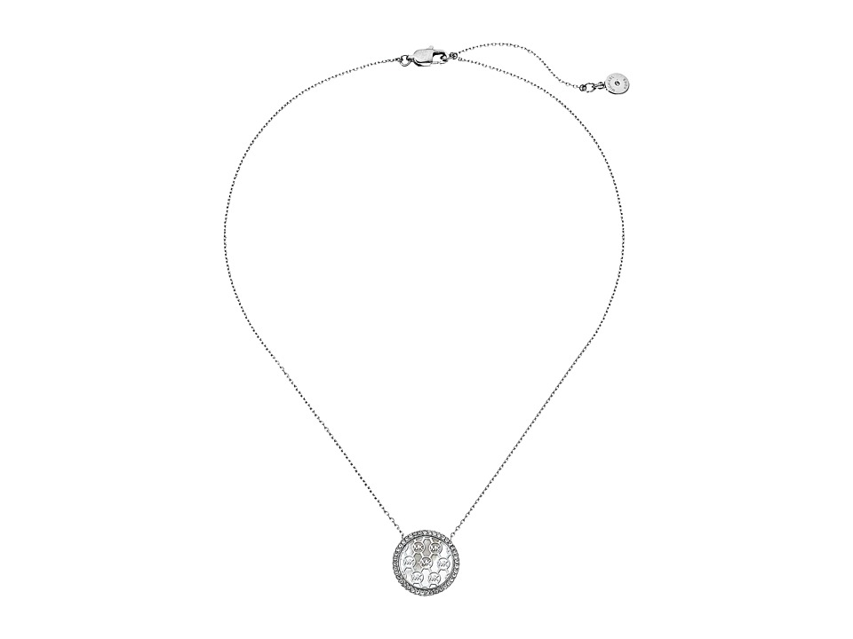 Michael Kors - Disc Pendant Necklace (Silver/Mother-of-Pearl/Clear) Necklace