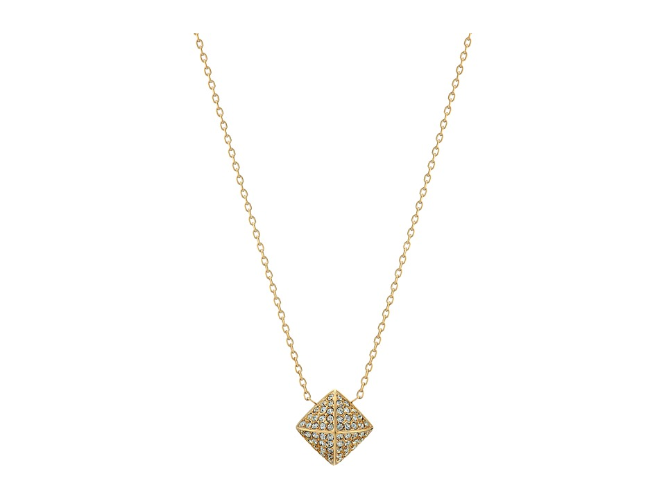 Michael Kors - Blush Rush Pave Pyramid Pendant Necklace (Gold/Clear) Necklace