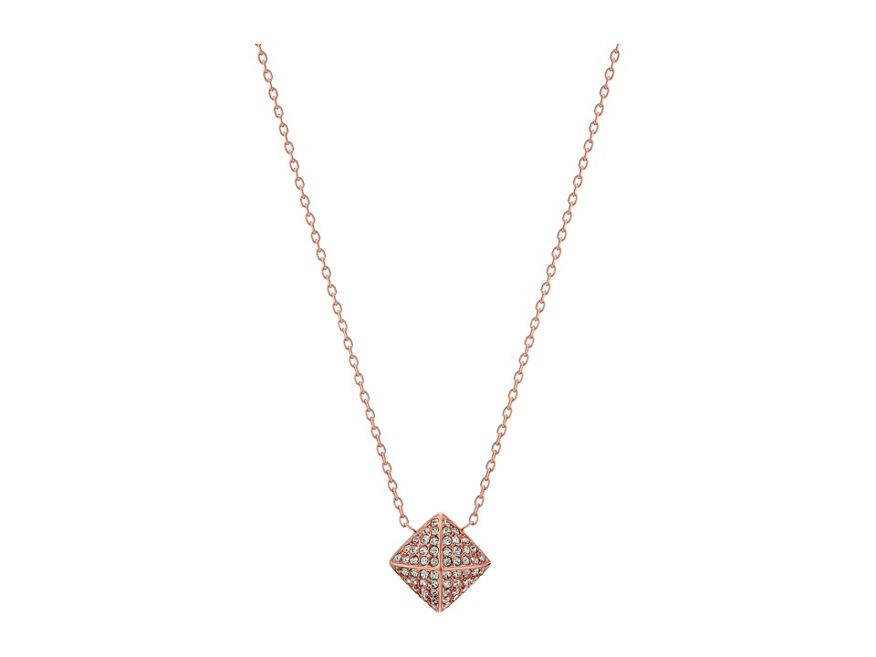 Michael Kors - Blush Rush Pave Pyramid Pendant Necklace (Rose Gold/Clear) Necklace
