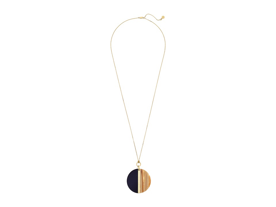 Michael Kors - Color Block Disc Pendant Necklace (Gold/Black/Sand) Necklace