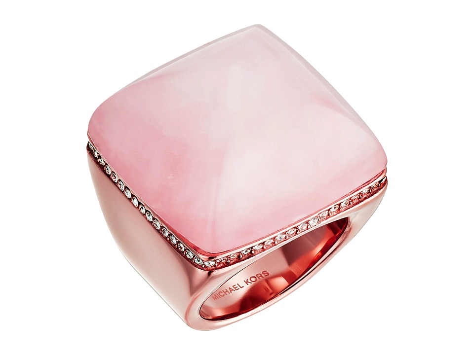 Michael Kors - Blush Rush Pyramid Signet Ring (Rose Gold/Blush/Clear) Ring