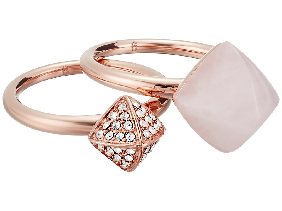 Michael Kors - Blush Rush Pyramid Stack Ring (Rose Gold/Clear/Blush) Ring
