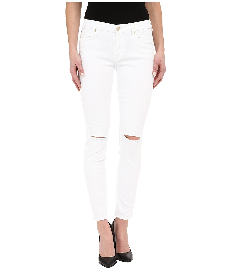 7 For All Mankind - The Ankle Skinny w/ Knee Holes in Clean White 2 (Clean White 2) Women