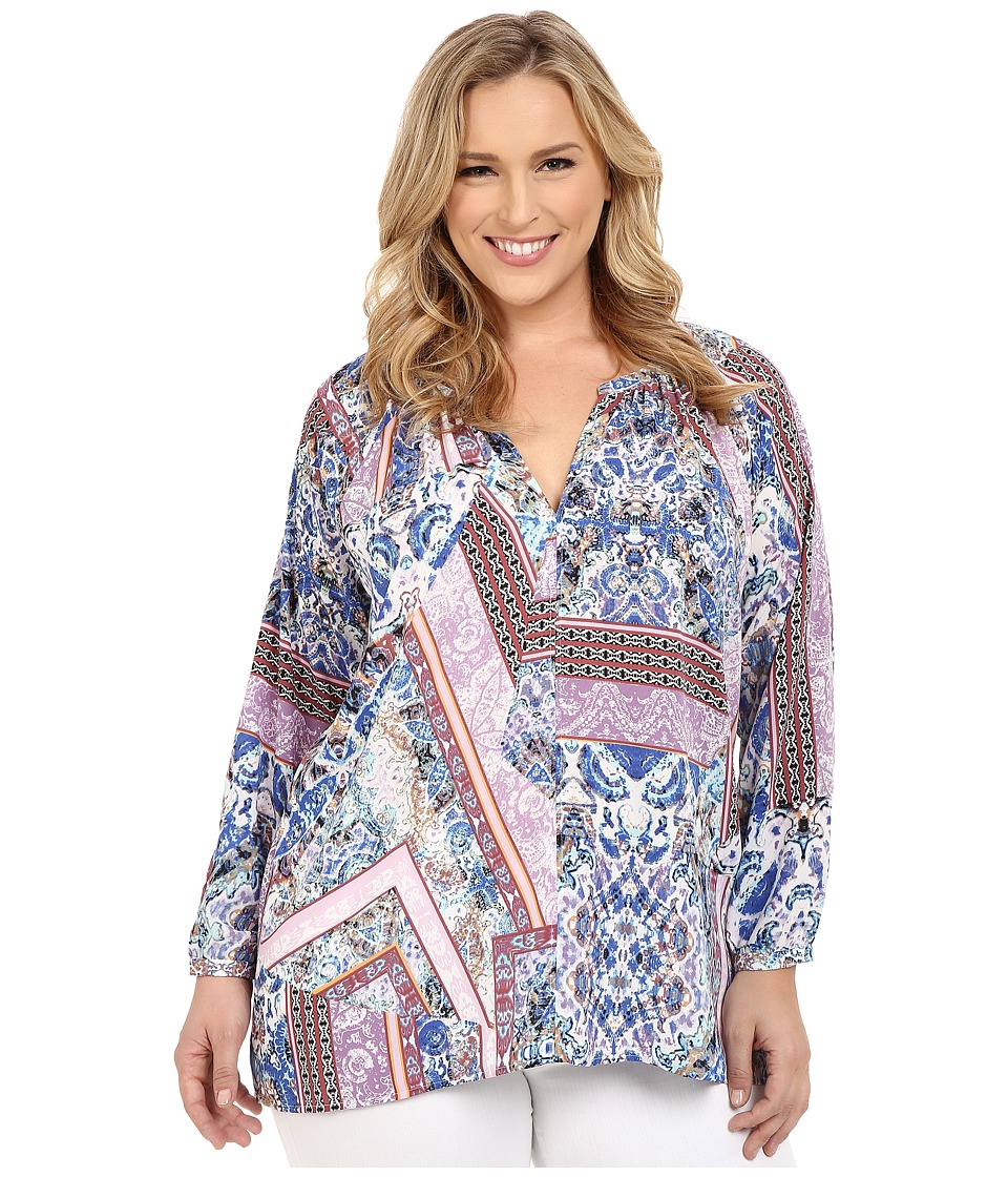 NYDJ Plus Size - Plus Size Peasant Blouse (Free Bird Paisley) Women's Blouse