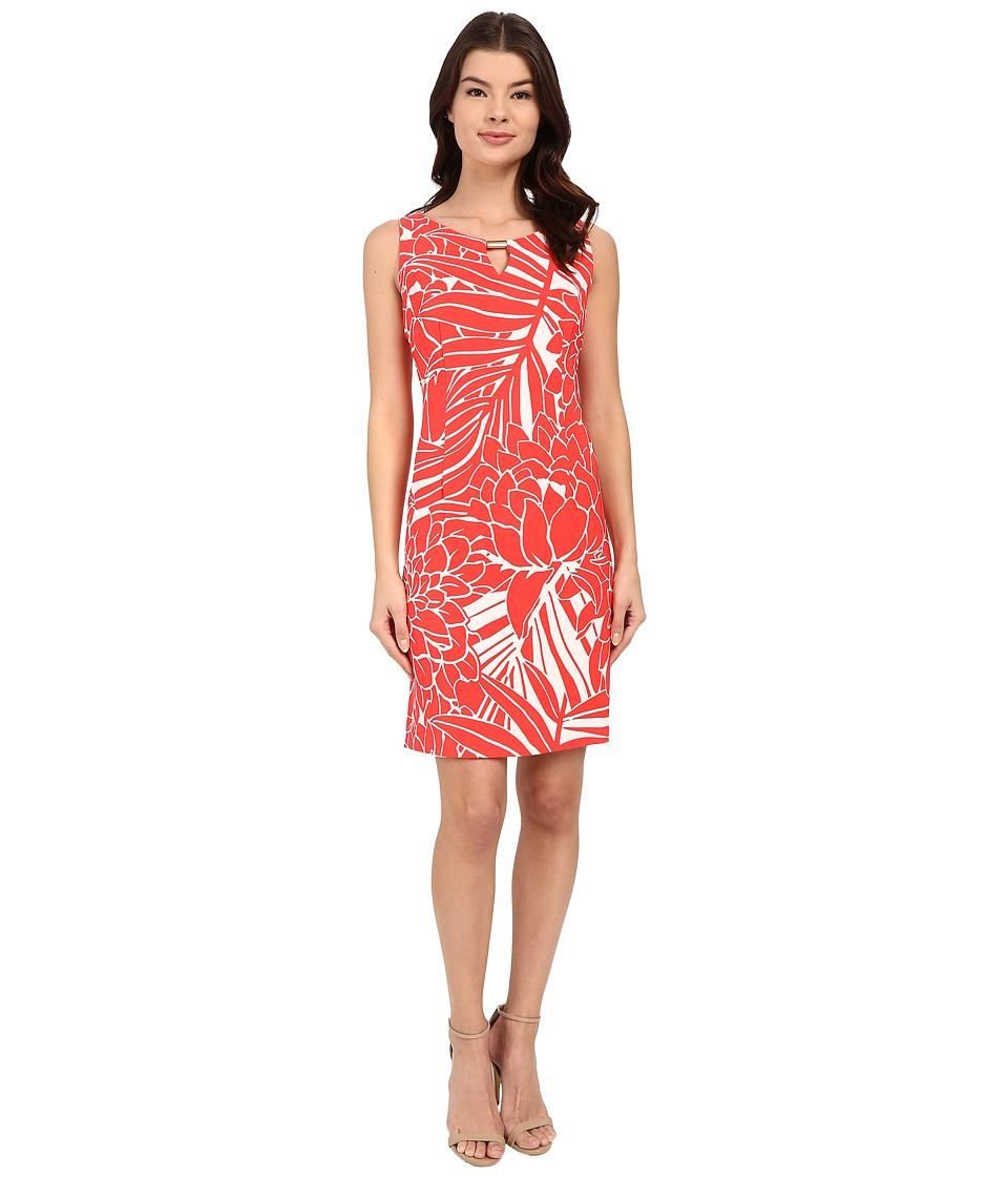 Christin Michaels - Molly Printed Dress (Coral/White) Women's Dress