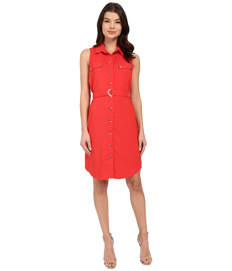 Christin Michaels - Shelia Belted Dress (Hot Coral) Women's Dress