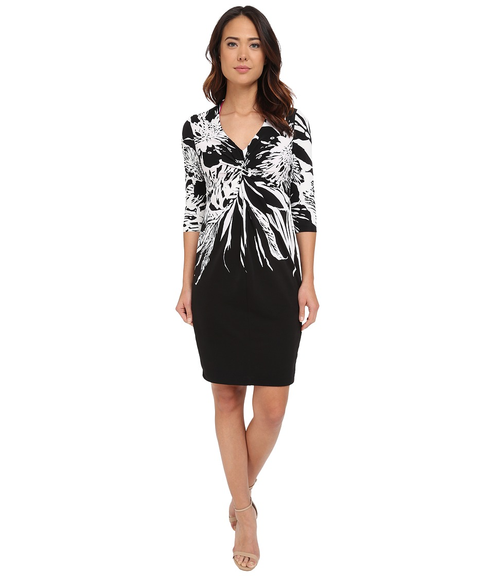 Christin Michaels - Lecce Jersey Knot Dress (Black/White) Women's Dress
