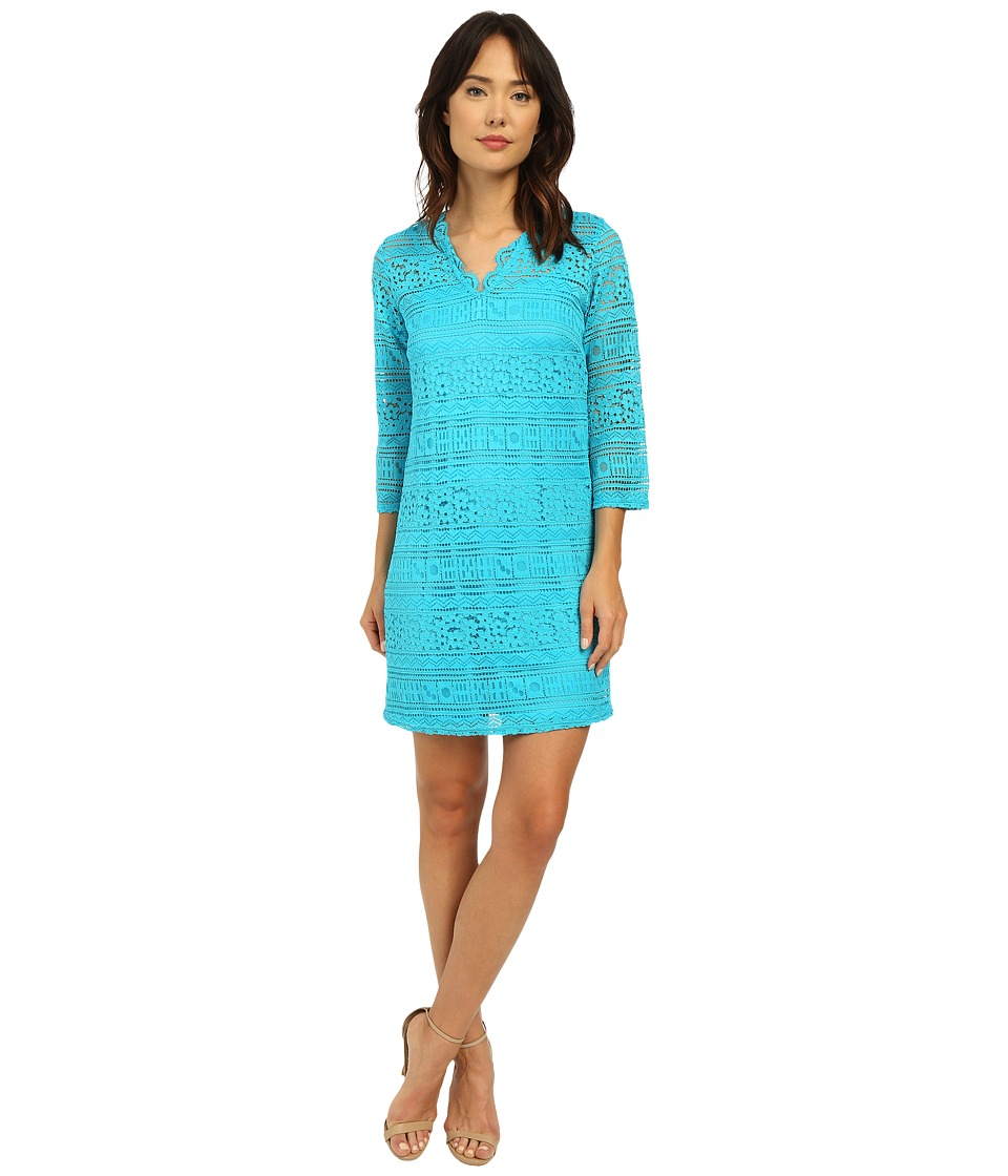 Christin Michaels - Ocean Breeze Lace Dress (Malibu Blue) Women's Dress