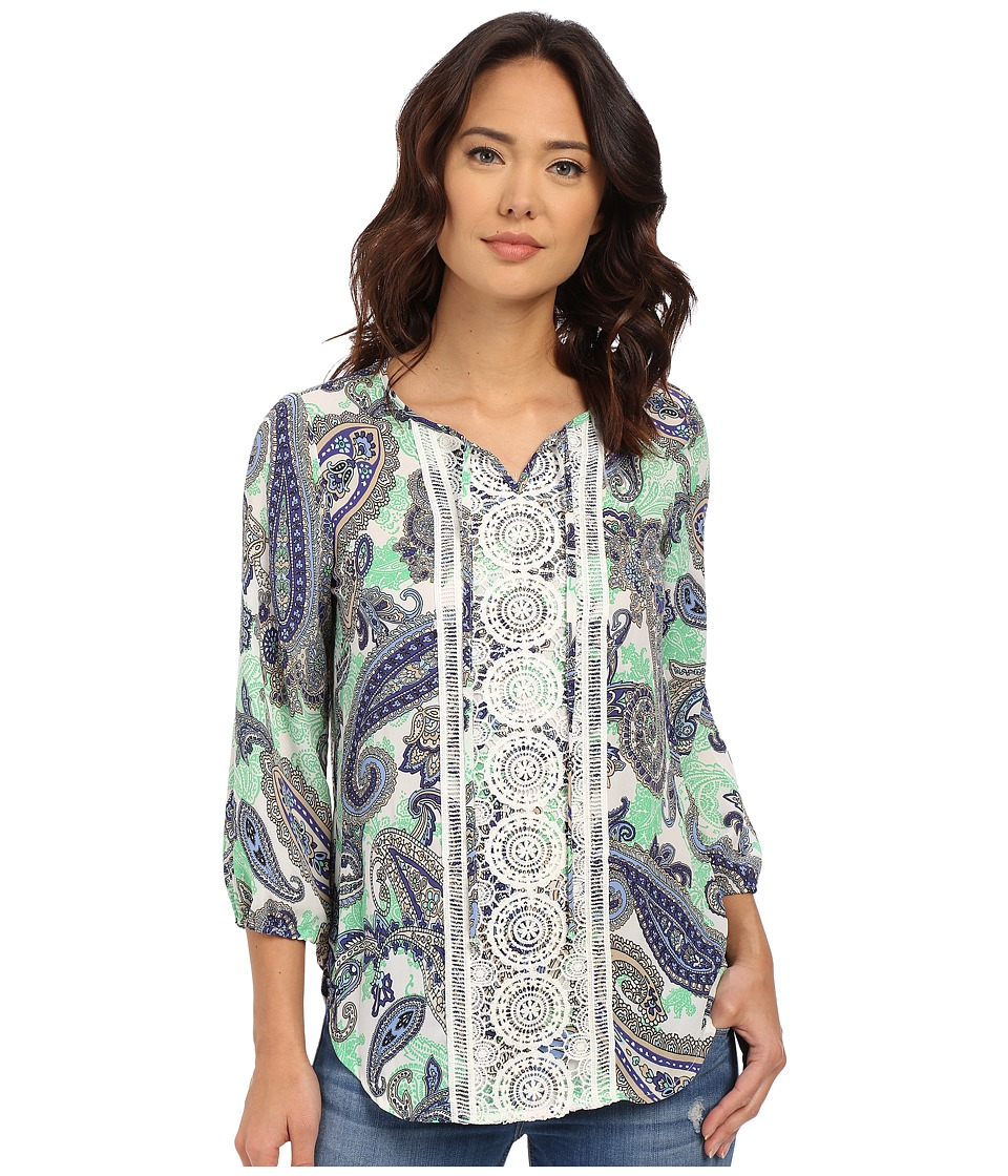 Christin Michaels - Tours Print Blouse (Blue/Mint) Women's Blouse