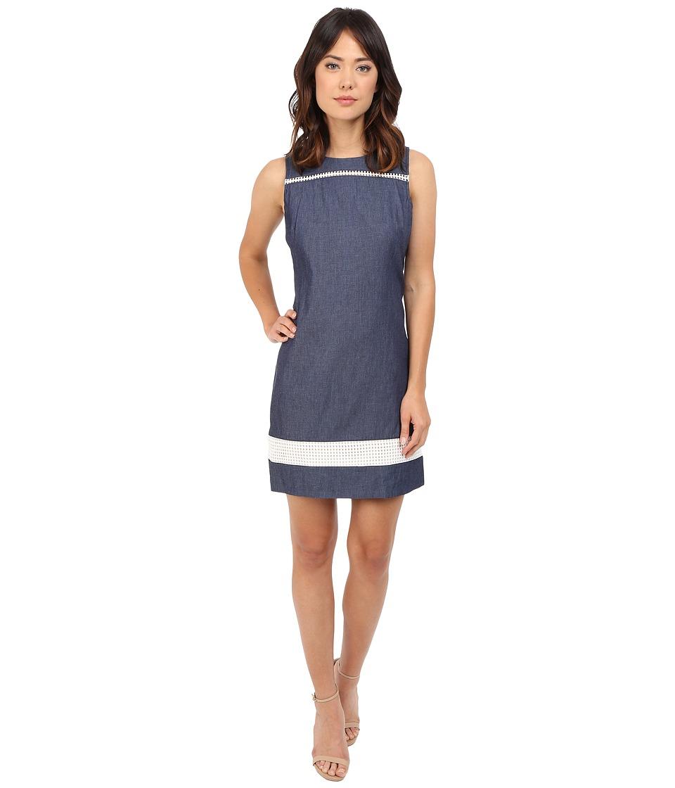 Christin Michaels Emilia Sheath Dress (Denim) Women