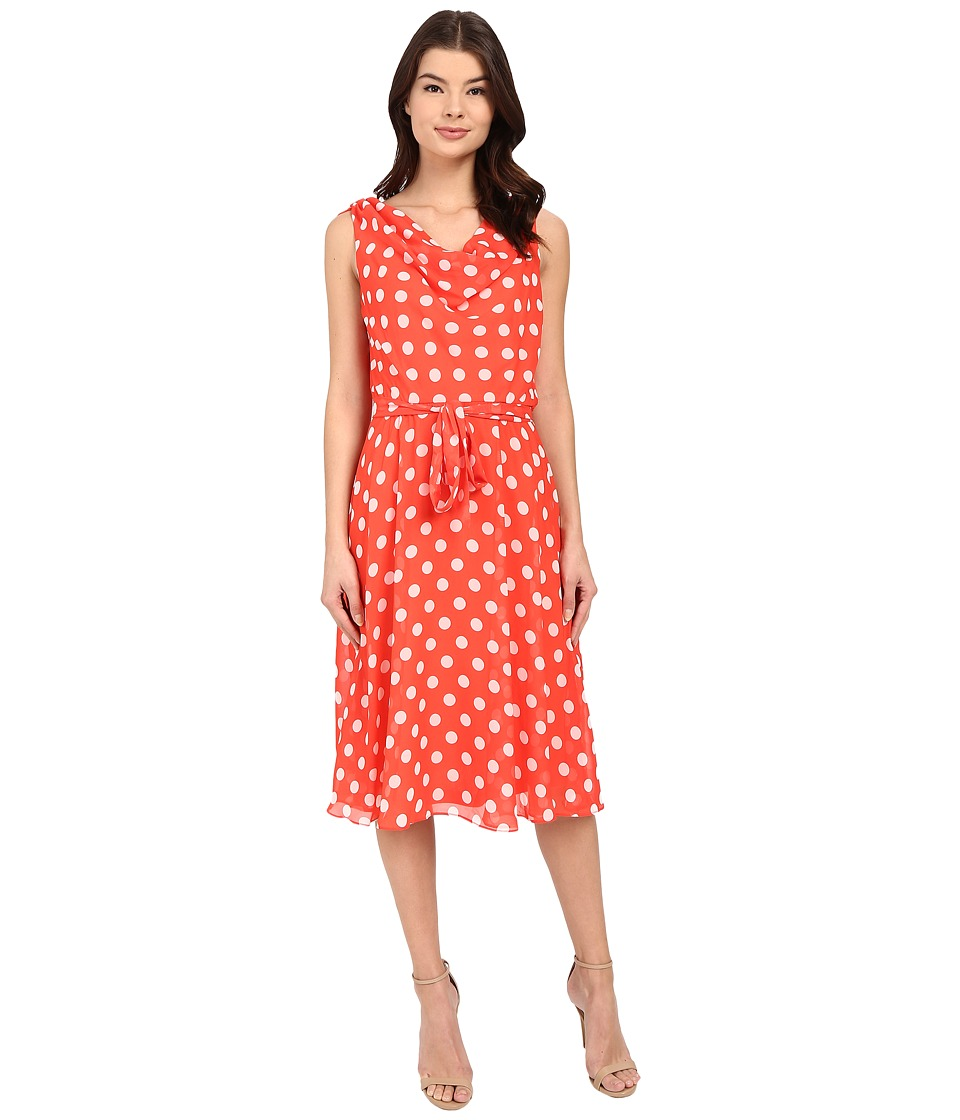 Christin Michaels Jamie Dot Dress (Hot Coral/White) Women