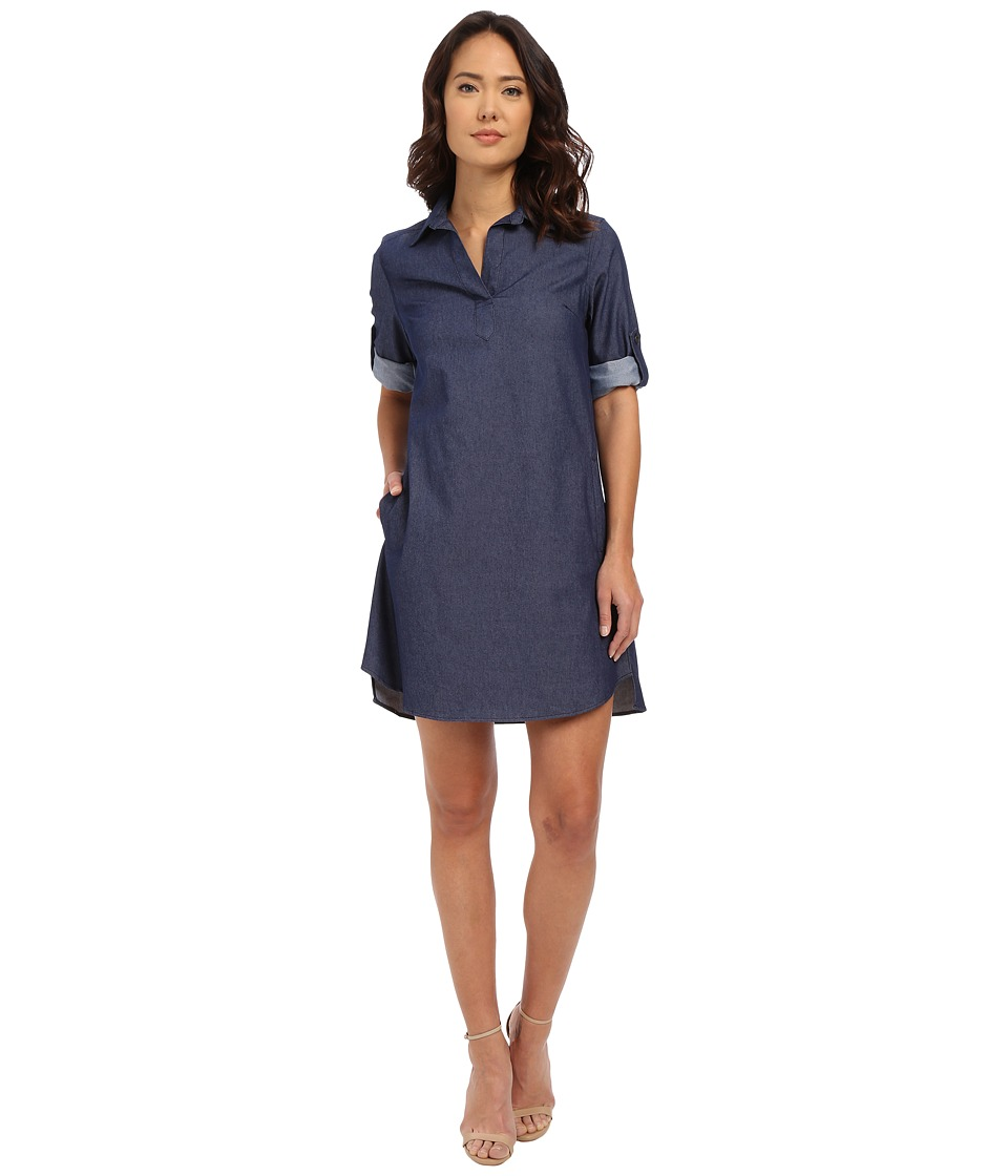 Christin Michaels - Shyloh Roll Tab Dress (Vintage Blue) Women's Dress