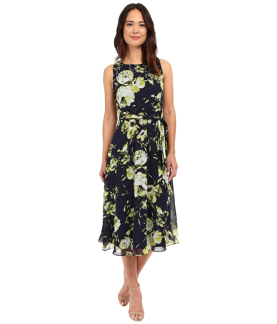 Christin Michaels - Turin Midi Dress w/ Belt Tie (Navy Floral) Women's Dress