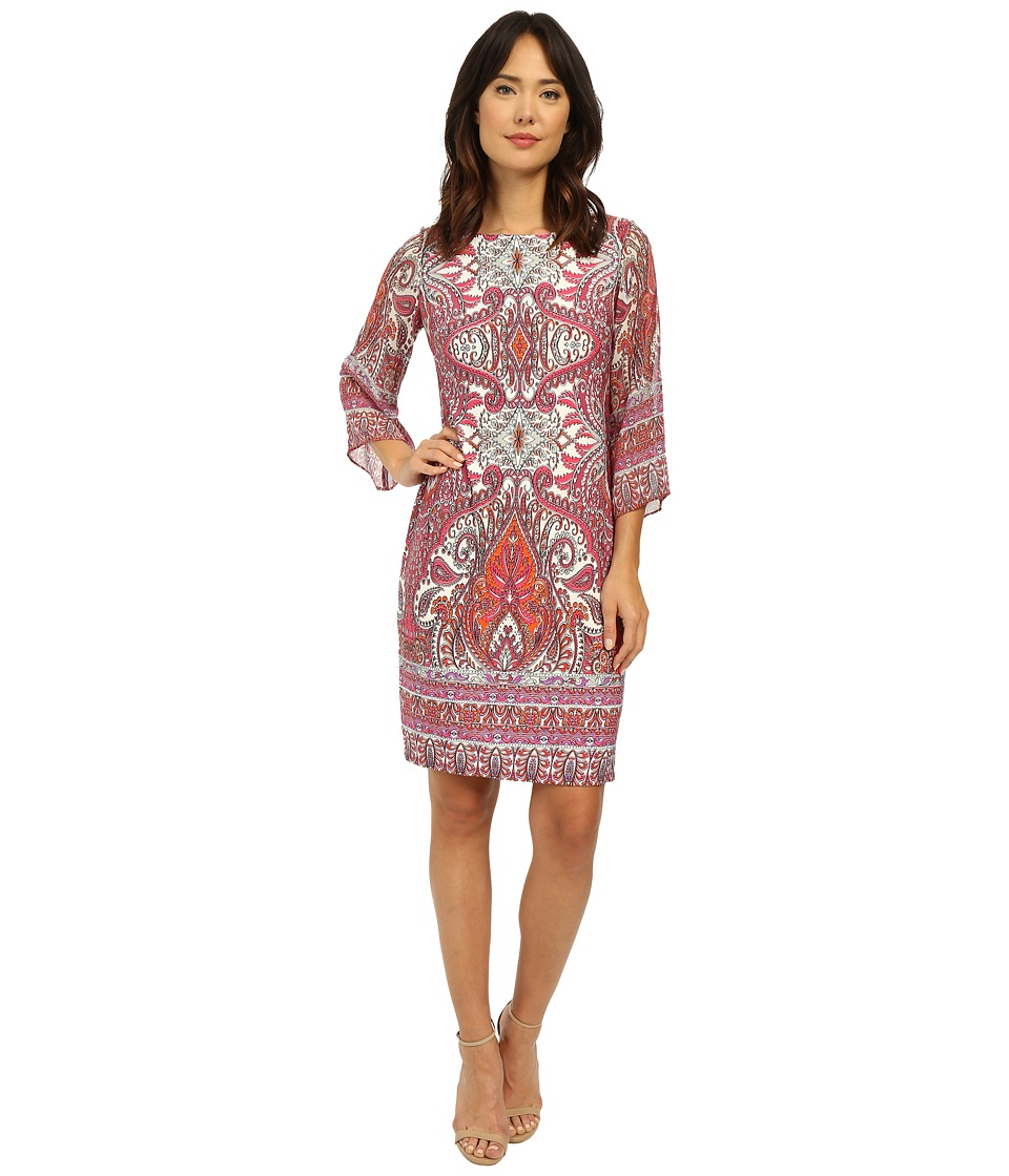 Christin Michaels - Placement Print Shift Dress (Pink Multi) Women's Dress