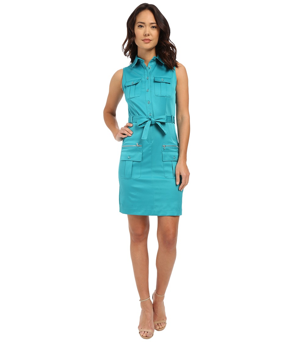 Christin Michaels - Katie Belted Shirtdress (Jade) Women's Dress