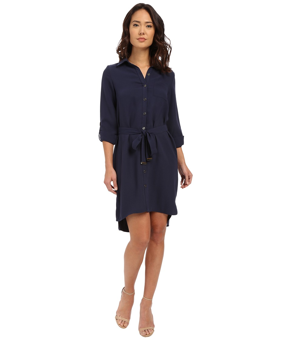Christin Michaels - Luna Crepe Belted Dress (Navy) Women's Dress