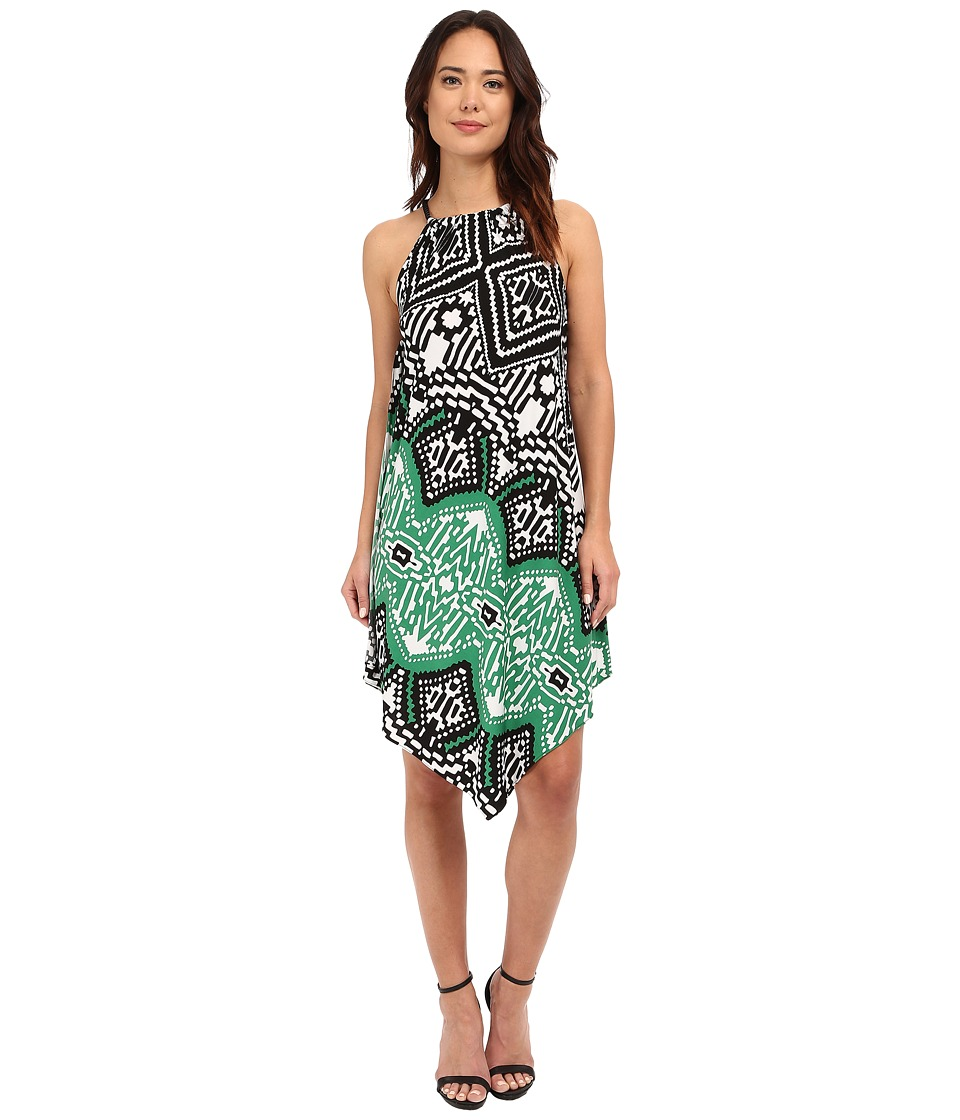 Christin Michaels - Bari Printed Dress (Black/Green Multi) Women's Dress