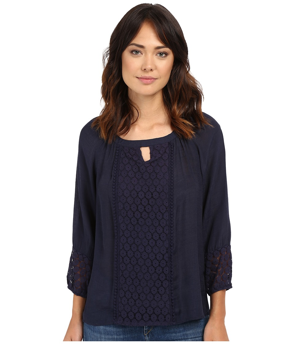 Christin Michaels - Caen Lace Top (Celebration Navy) Women's Clothing