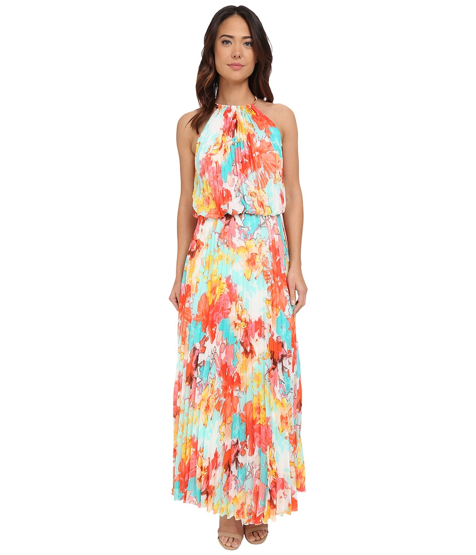 Christin Michaels - Milan Floral Pleated Maxi (Turquoise/Orange/Yellow) Women's Dress