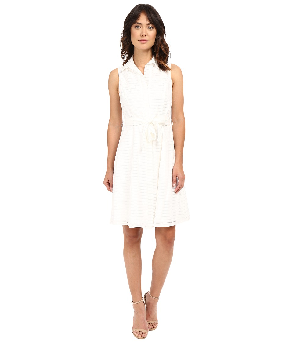 Christin Michaels - Illusion Stripe Andria Dress (White) Women's Dress
